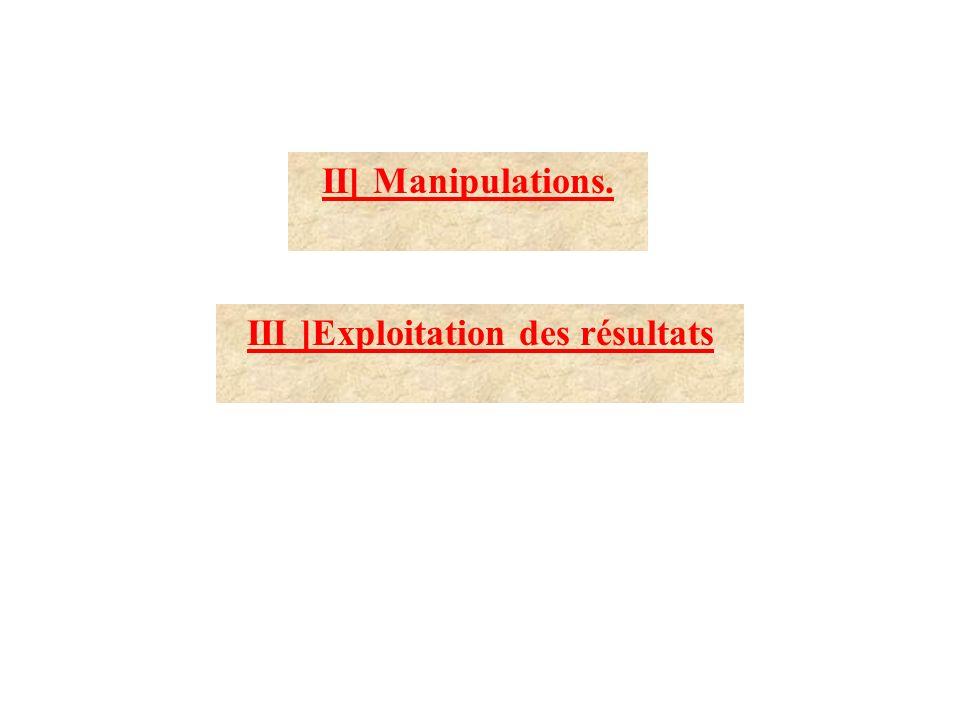 III ]Exploitation des résultats